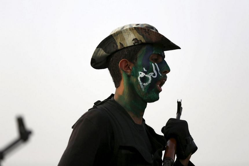 A Saudi security forces member taking part in a military parade in preparation for the annual Haj pilgrimage in Mecca on Sept 17, 2015.