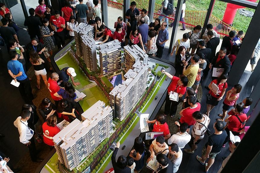 Potential buyers at the launch of Poiz Residences on Meyappa Chettiar Road on Nov 28, 2015.
