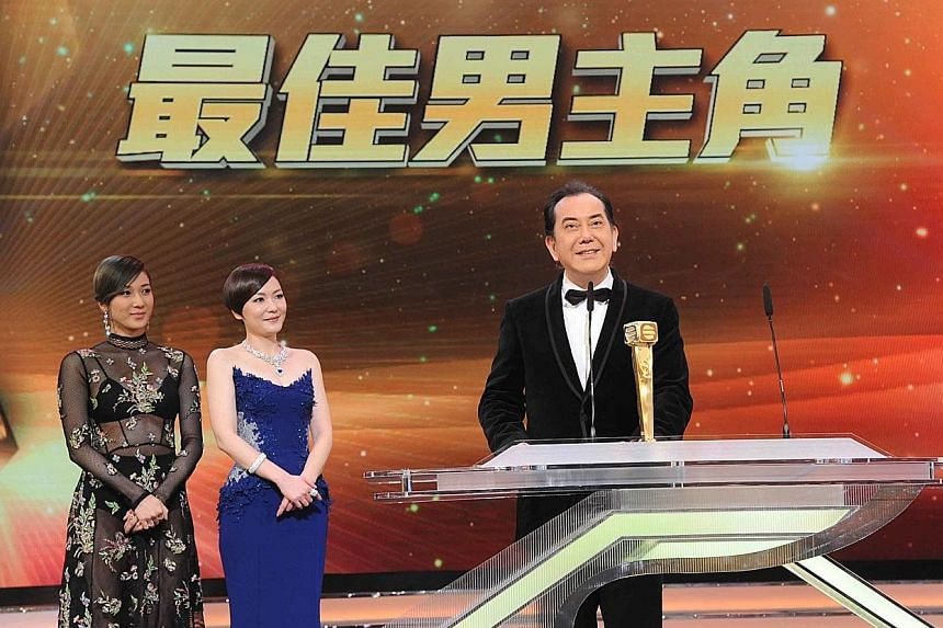Anthony Wong (right) accepting the Best Actor award, with actresses Linda Chung (from far left) and Kristal Tin as presenters. A stunned and weeping Nancy Wu with her Best Actress trophy.