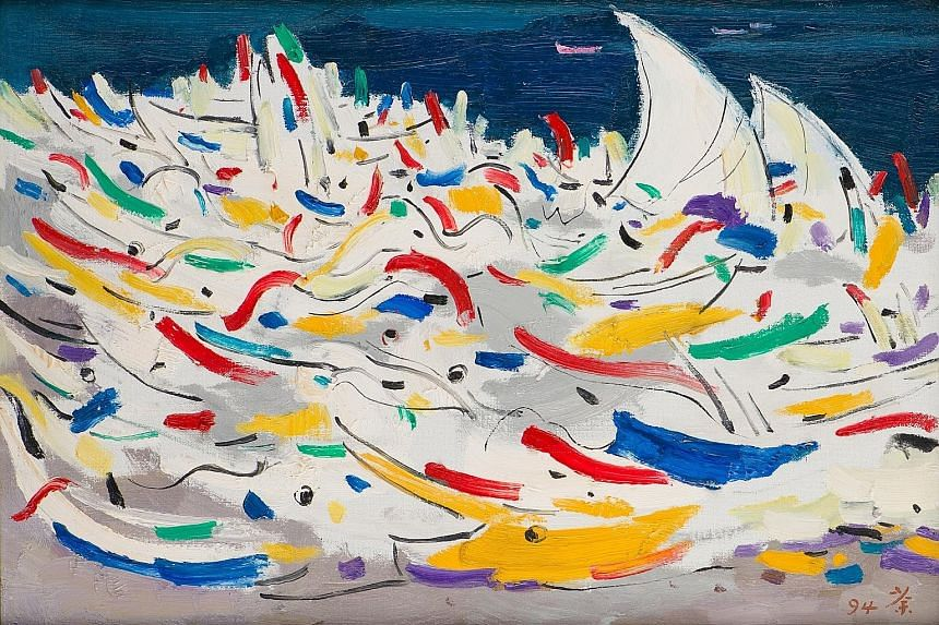 Wu Guanzhong's A Fleet Of Boats In Indonesia (above).