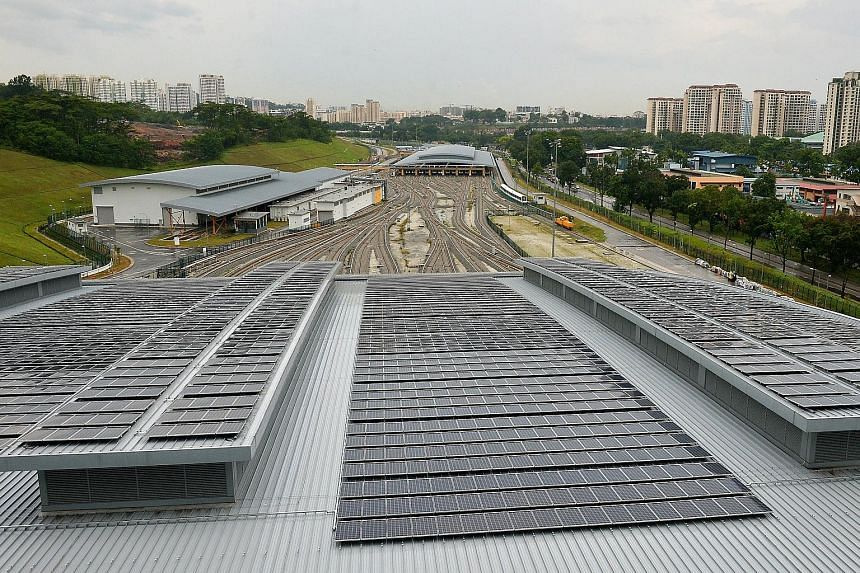 Solar panels at the new Gali Batu Depot that houses the Downtown Line 2 trains. Singapore is moving in the direction of generating more solar energy as part of its efforts in curbing emissions.