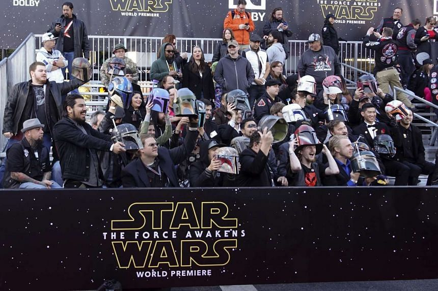Fans watching the red carpet during the arrivals for the premiere of 'Star Wars: The Force Awakens' on Dec 14, 2015.