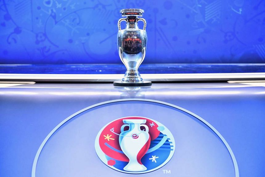 A picture shows the trophy of the Uefa Euro 2016 football tournament ahead of the final draw in Paris on Dec 12, 2015.