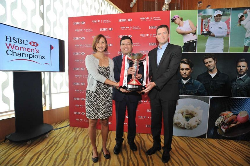 (From left) Singapore Tourism Board's director of sports Jean Ng, HSBC Singapore's head of marketing, retail banking and wealth management Eugene Kwek, and IMGAsia Pacific's senior vice-president Robbie Henchman at the media launch of the HSBC Wome