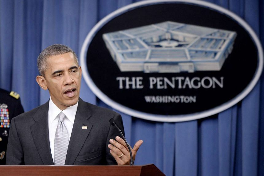 US President Barack Obama delivers a statement on the counter-ISIS campaign in the Pentagon briefing room on Monday.