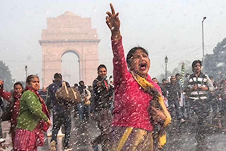 A scene from India's Daughter showing widespread protests after the brutal rape was reported.