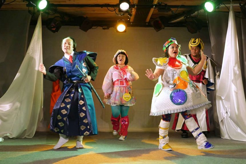 Japanese actor Ryo Nishihara (far left, with the cast of Super Happy Land) had to learn to use a samurai sword for a scene.
