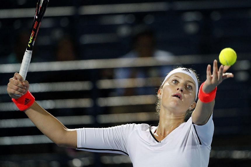 France's Kristina Mladenovic of UAE Royals reacts to a line call during a match against Australia's Samantha Stosur of Indian Aces in the women's singles of the International Premier Tennis League on Dec 14, 2015 in Dubai.