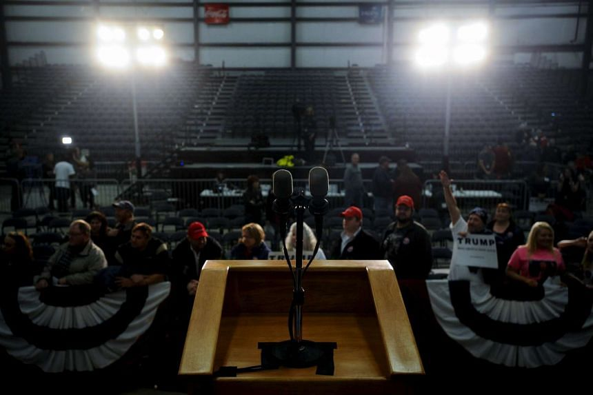 A podium where US Republican presidential hopeful Donald Trump spoke after a campaign stop in Spencer, Iowa, on Dec 5.