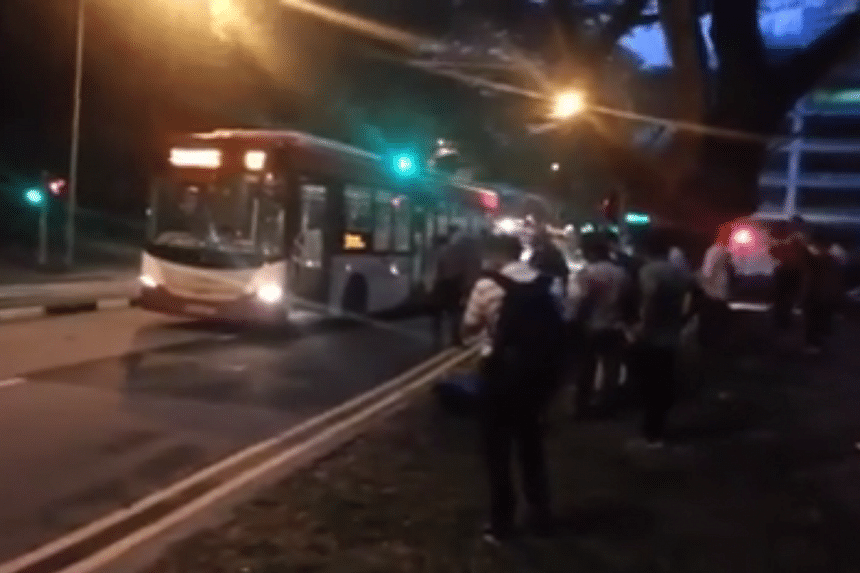 A screengrab from a video showing what happened after the accident.