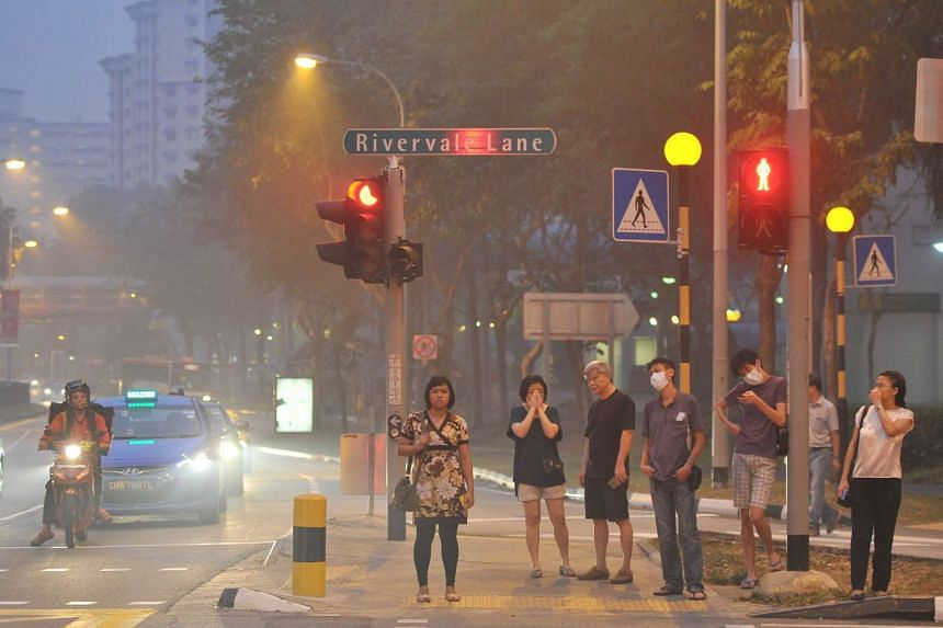 Hazy conditions near Rivervale Plaza on Sept 14, 2015.