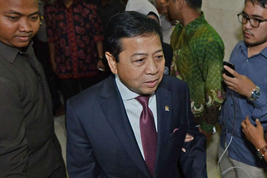 Embattled Indonesian parliament speaker Setya Novanto arrives to face investigation by the House Ethics Council in Jakarta on Dec 7, 2015.