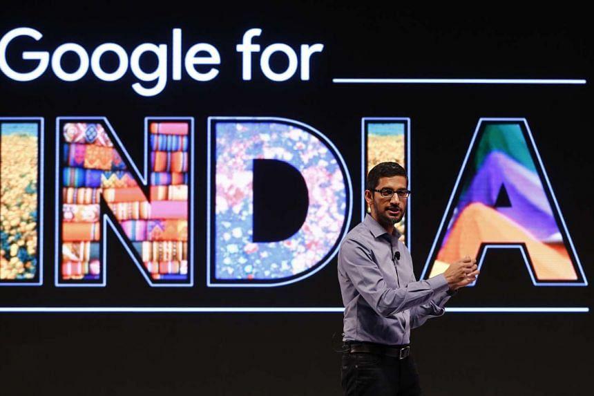 Google CEO Sudnar Pichai at a news conference in New Delhi on Dec 16, 2015.