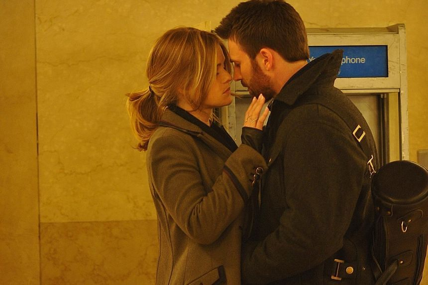 Brooke (Alice Eve) and Nick (Chris Evans, both above) meet by chance in New York City's Grand Central Station in Before We Go.