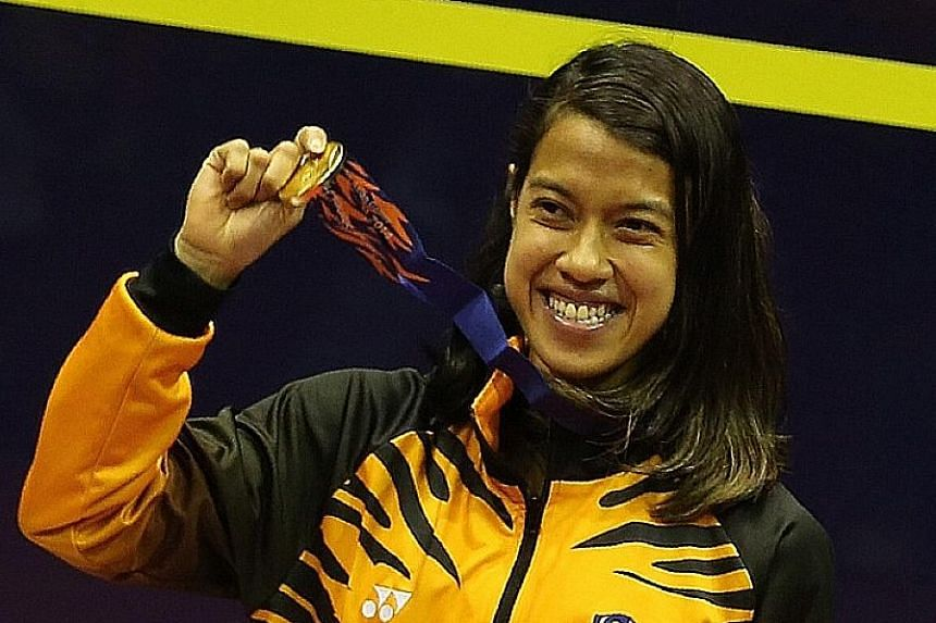 Nicol David with her Asian Games gold last year. She has struggled this year, winning only two Wispa tournaments. She lost the world No. 1 ranking - which she had held for 109 straight months - in September.