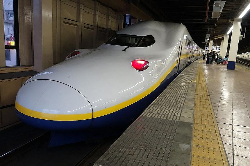 A Shinkansen bullet train in Japan. After its winning bid to build bullet trains in India, Japan now wants to snag the KL-Singapore project.