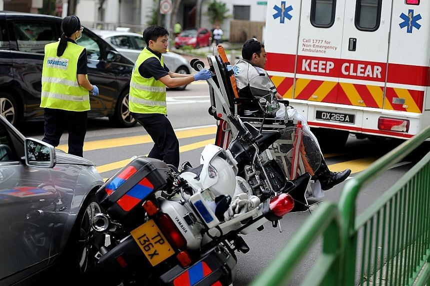The Singapore Civil Defence Force said it responded to an incident along Upper Cross Street at about 8.35am yesterday. An ambulance was sent, and a man was conveyed to Singapore General Hospital in a stable and conscious state.