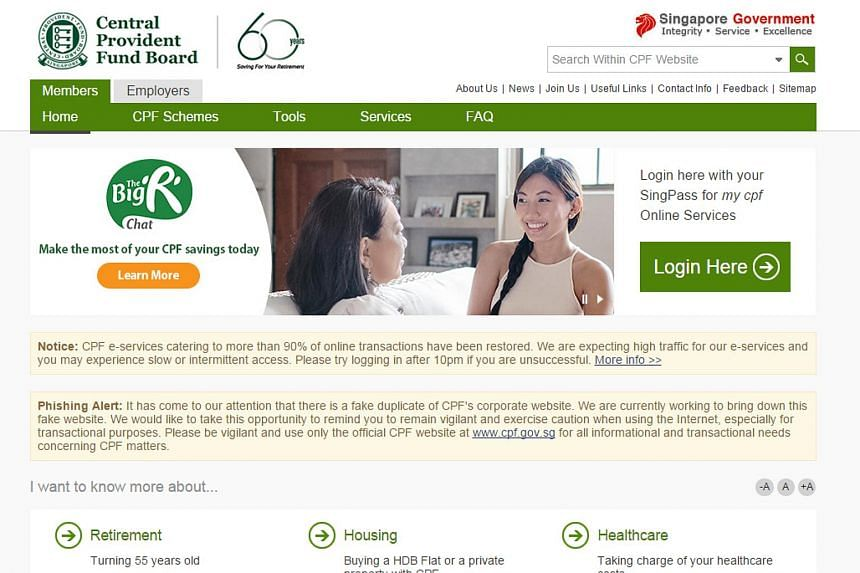 A screengrab of the official CPF website showing a message warning of the fake site.