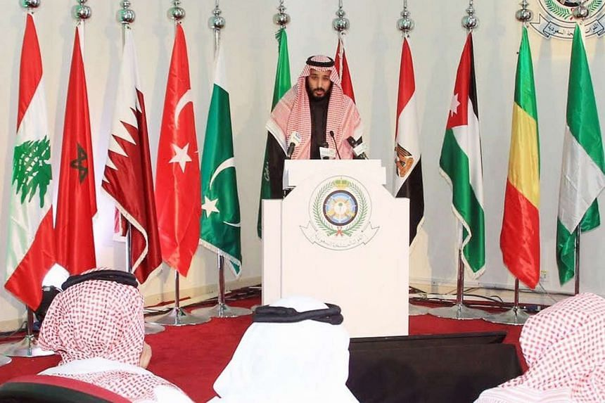 Saudi Defence Minister and Deputy Crown Prince Mohammed bin Salman holding a press conference on Dec 14, 2015, at King Salman airbase in Riyadh.