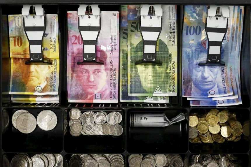Swiss franc currency is seen in a cash drawer in this 2015 file photo.