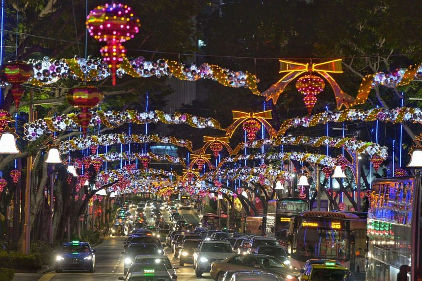 The Christmas light-up along Orchard Road.