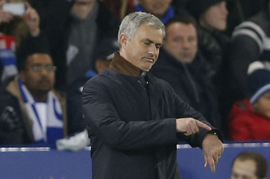 Jose Mourinho looks dejected during the match between Chelsea and Leicester City on Dec 14, 2015.