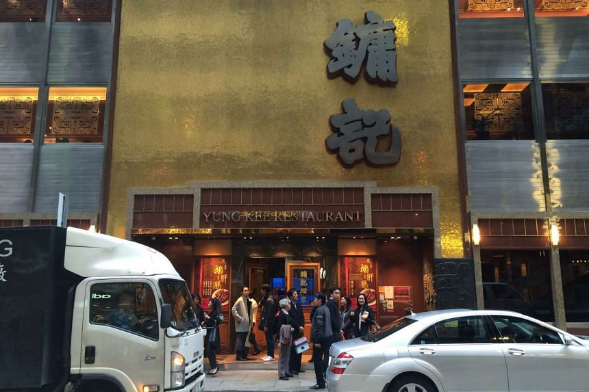 The exterior of Yung Kee restaurant in Hong Kong.