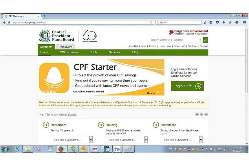 A screenshot of the CPF website.