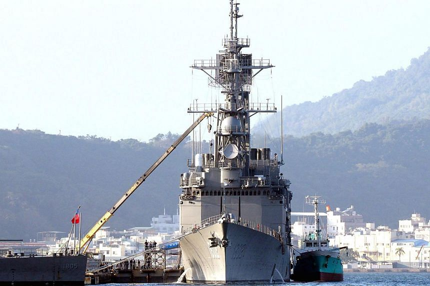 A Kee Lung-class guided-missile destroyer docked in the Kaohsiung Harbour, southern Taiwan.