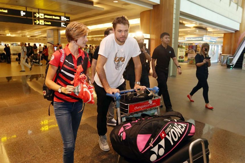 Two-time Grand Slam champion Stan Wawrinka arrives in Singapore on Dec 17, 2015.