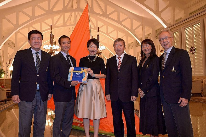 From left: Dr Loh Kok Hua, SSF deputy president; Dr Ben Tan, SSF chief; Minister Grace Fu, the guest of honour; Ng Ser Miang, SSF patron; Moh Kah Mun, SSF vice-president and Peter Lim, who authored the book Upwind and Winning: A Singular Story of Sai