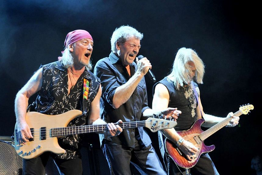 British band Deep Purple with (from left)  bassist Roger Glover, vocalist Ian Gillan and guitarist Steve Morse of its Mk VIII lline-up, rock the Singapore Indoor Stadium on May 12 2010.