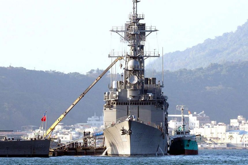 A Taiwan guided-missile destroyer docked in Kaohsiung Harbour, southern Taiwan.