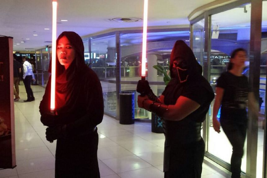 Star Wars fans in costume at Shaw Lido on Dec 16, 2015.