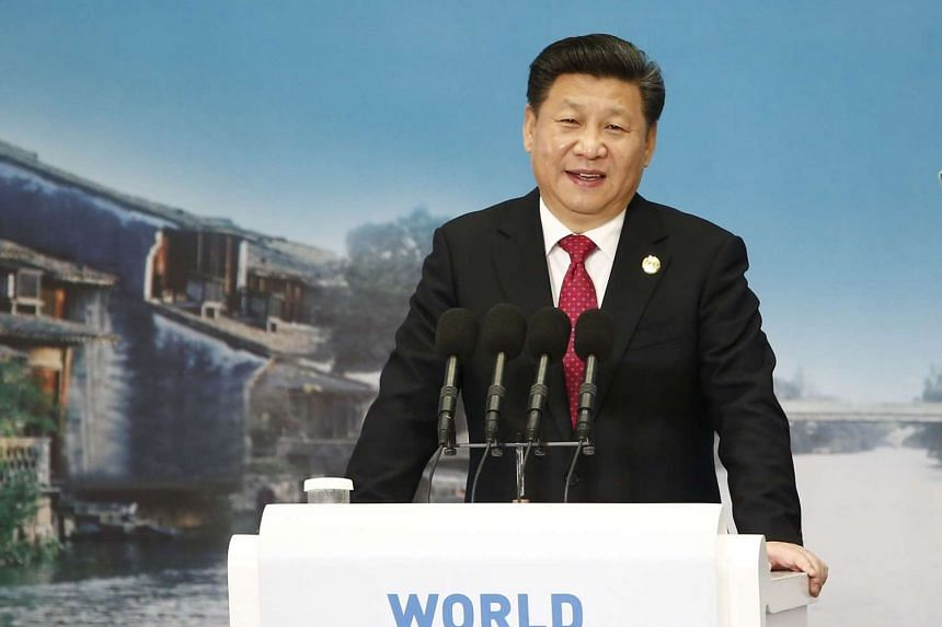 Chinese President Xi Jinping delivers a speech during the World Internet Conference in Wuzhen, east China's Zhejiang province on Dec 16, 2015.