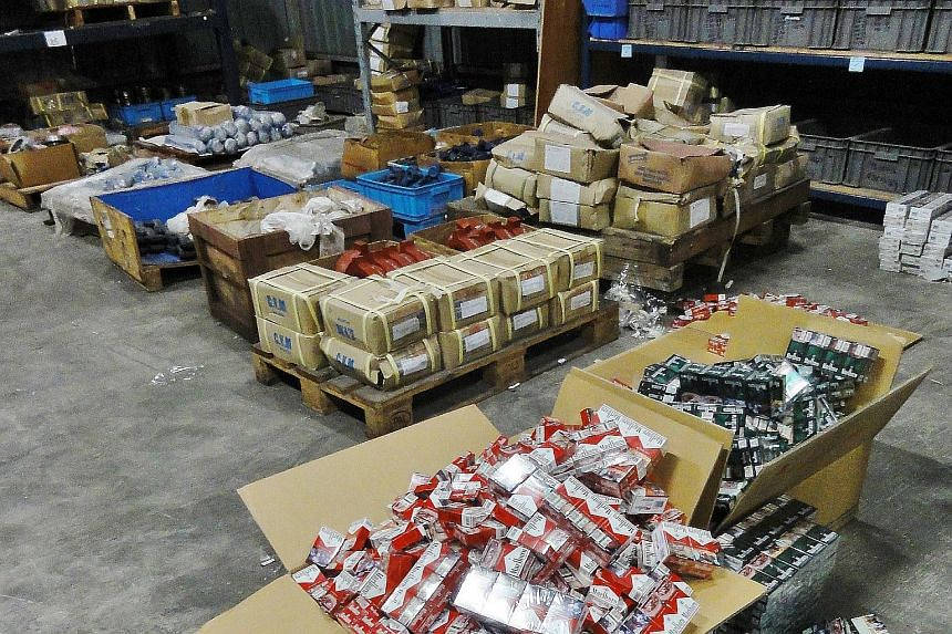 The warehouse in Loyang Crescent where more than 3,000 cartons of duty-unpaid cigarettes, hidden in modified bed headboards imported from Batam, were found in June.