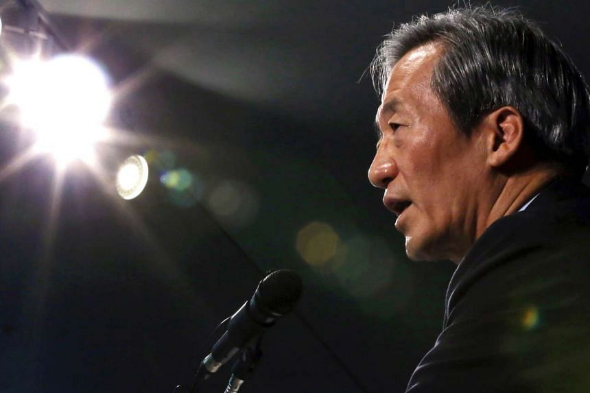 FIFA vice president Chung Mong-Joon speaks during a press conference in Seoul on Oct 6, 2015.