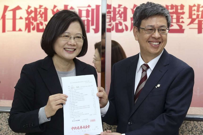 DPP Chairperson and presidential candidate Tsai Ing-wen and her running-mate Chen Chien-jen.
