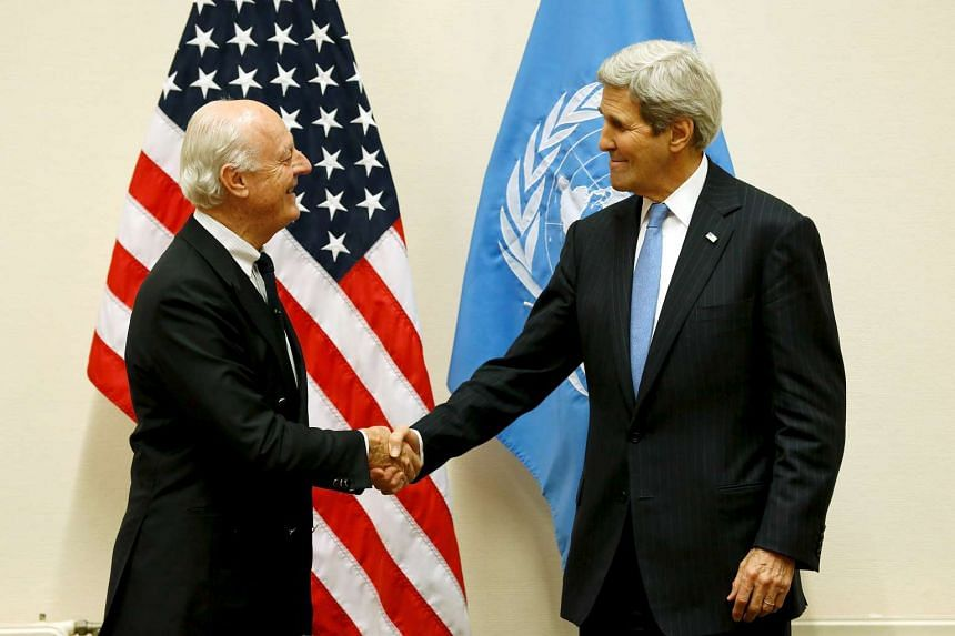 UN special envoy for Syria Staffan de Mistura (left) meeting with US Secretary of State John Kerry at the Nato Headquarters in Brussels on Dec 1.