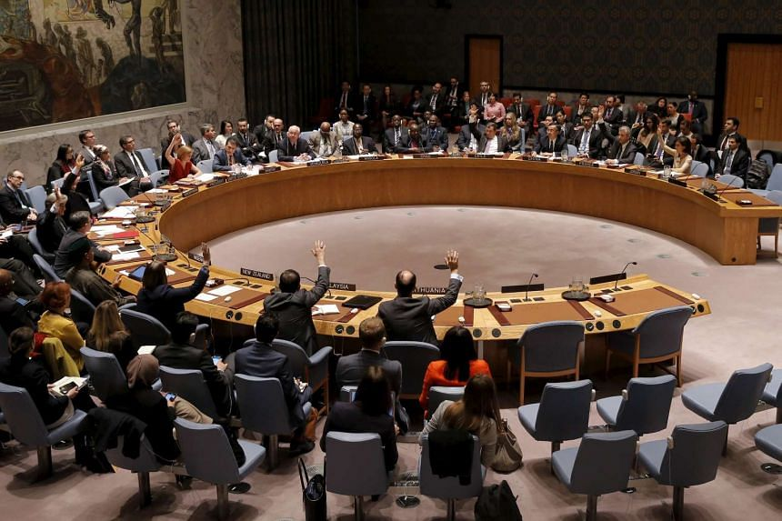 UN Security Council members cast their votes in favor of the adoption of the agenda during a meeting on alleged human rights abuses by North Korea on Dec 10, 2015.