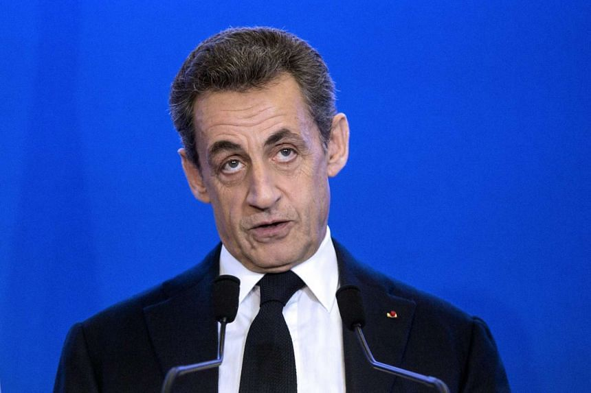 Nicolas Sarkozy delivers a speech at the party headquarters after the first results of the French Regional Elections second round.