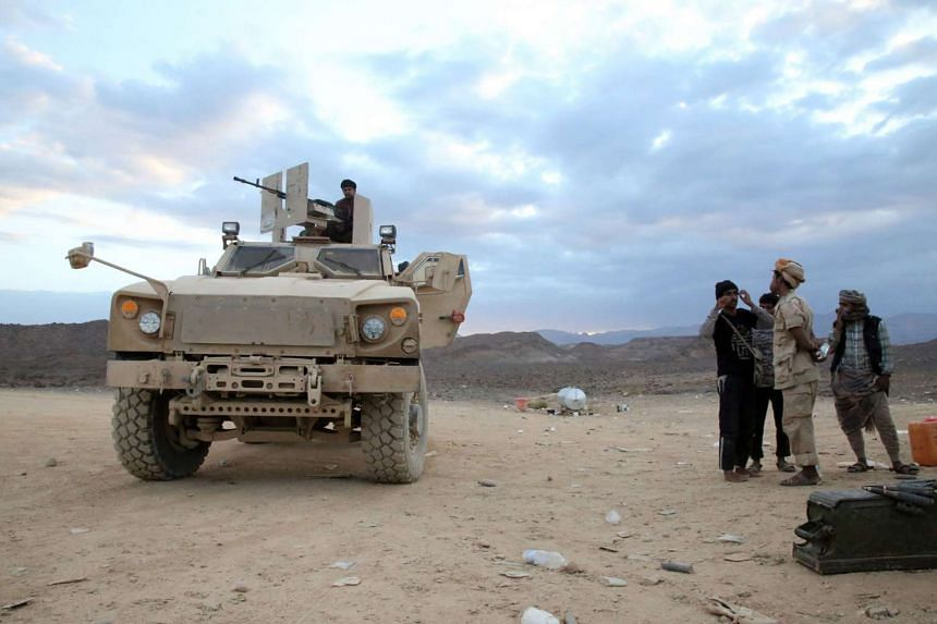 Supporting forces loyal to Yemen's Saudi-backed President Abedrabbo Mansour Hadi, west of the city of Marib.