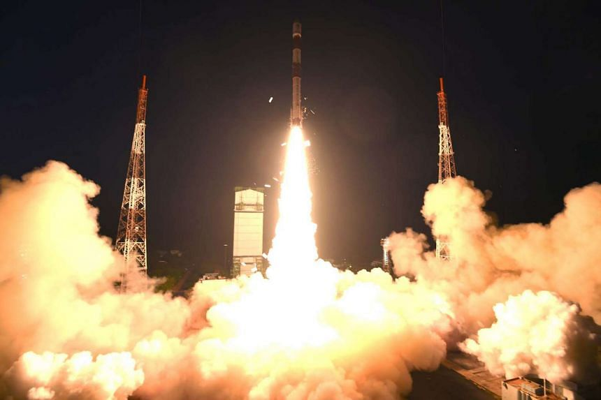 The launch of India's Polar Satellite Launch Vehicle carrying six made-in-Singapore satellites on Dec 16, 2015.