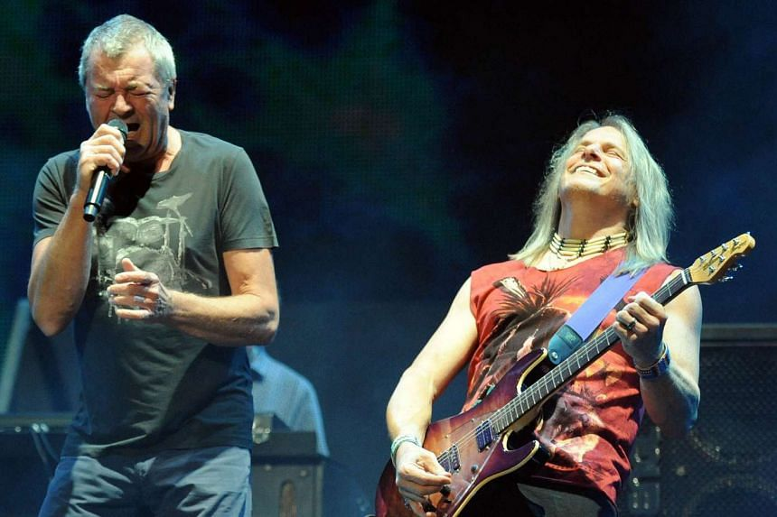 Guitarist Steve Morse (right) and singer Ian Gillan (left) of  Deep Purple perform at the music festival Mawazine in Rabat in this May 30, 2013, file photo.
