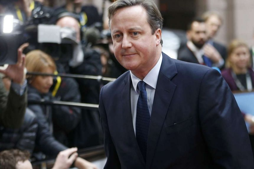 Britain's PM David Cameron arriving at a European Union leaders summit in Brussels on Dec 17, 2015.