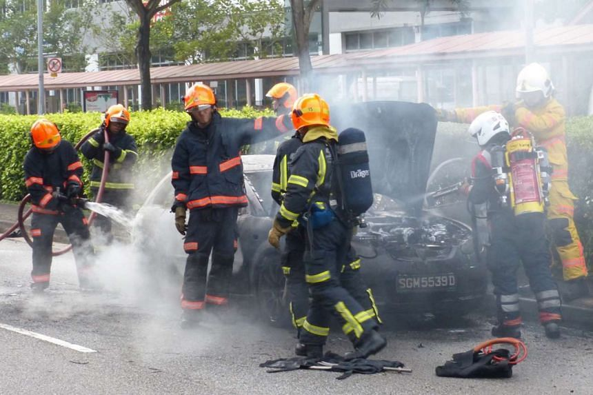 The Singapore Civil Defence Force said it was informed of the car fire at 7.40am and sent a red rhino, an ambulance and two fire bikes to the scene.