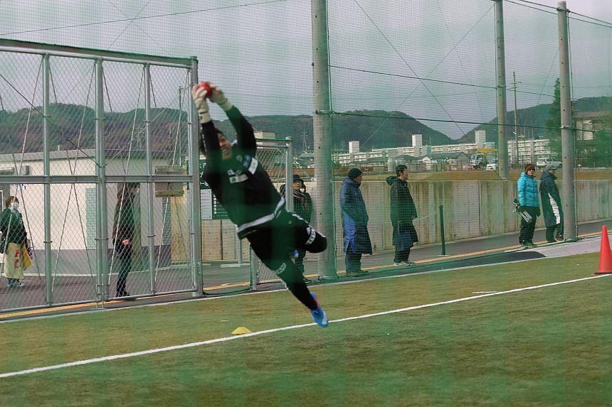 Izwan Mahbud showing his agility during a week-long training stint with Matsumoto Yamaga in Japan.