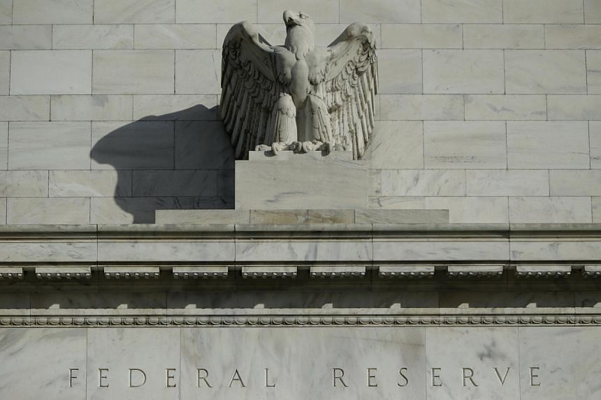 A detail from the front of the United States Federal Reserve Board building in Washington.