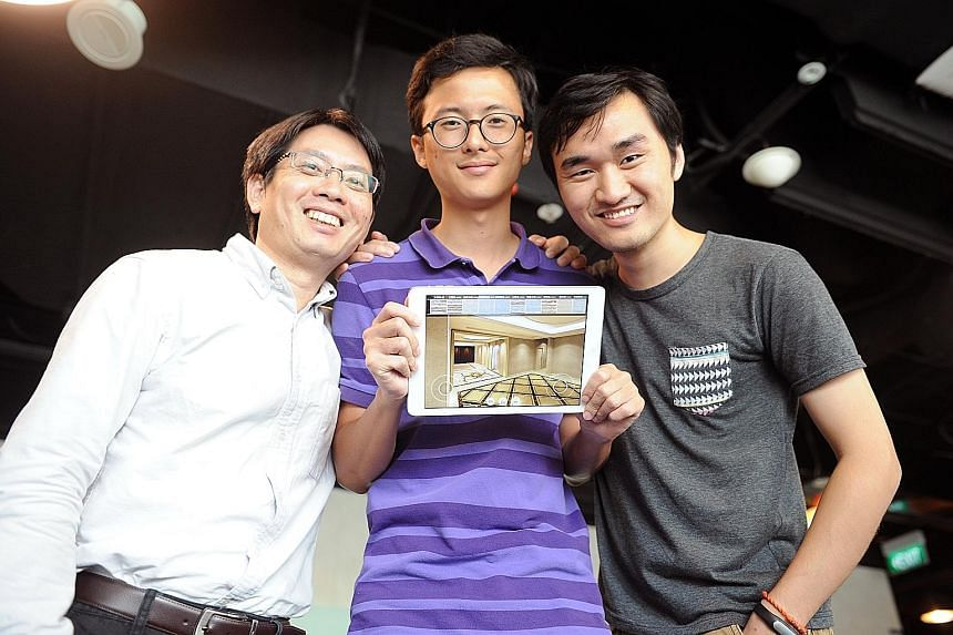 (From left) Senior research scientist at ADSC Jiangbo Lu with Home Plus co-founders Han Feng and Huang Shouzhi. Set to be rolled out next month, the app allows users to visualise real products to design their homes and move them around virtually.