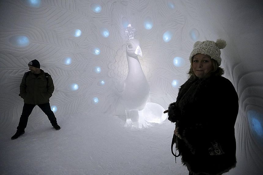 This year's incarnation of the Icehotel in Jukkasjarvi, Sweden, which opened on Dec 11, features 19 Art Suites, uniquely crafted by artists from around the world. This suite by designers Tjasa Gusfors and David Andren, named Show Me What You Got, is